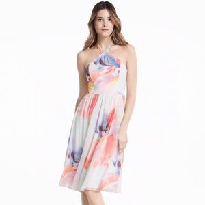 NWT WHBM Women Chiffon Halter Print Dress 6 Floral